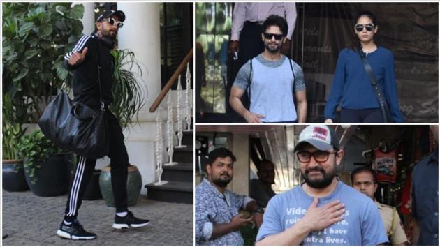 Ranveer Singh, Shahid Kapoor, Mira Rajput and Aamir Khan seen in Mumbai.