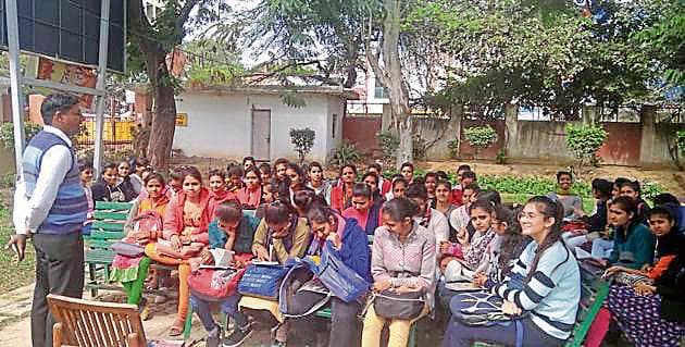 Students said the college has been facing shortage of classrooms for several years.(HT Photo)