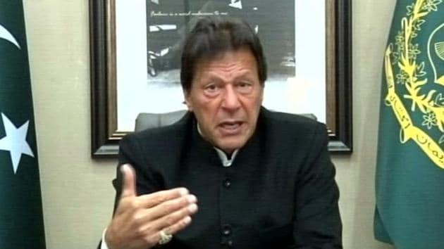 Pakistan Prime Minister Imran Khan addresses the media in Islamabad.(ANI)