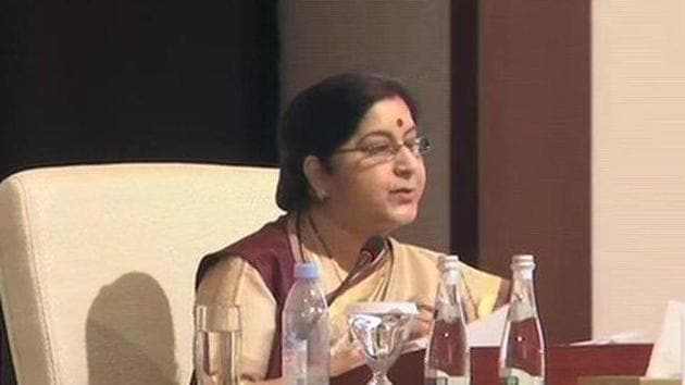 External affairs minister Sushma Swaraj at OIC conclave on March 1.(ANI Photo/Twitter)