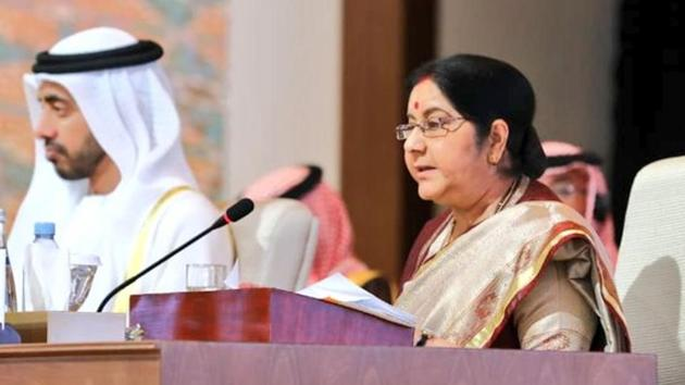 External Affairs Minister Sushma Swaraj at OIC meeting in Abu Dhabi, Friday March 1, 2019.(Photo Credit: Twitter @MEAIndia)