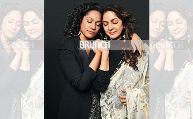 National Award winning actor Neena and one of India's most popular and influential young fashion designer Masaba Gupta are each other's strength and weakness! Styling: Meagan Concessio ; Make-up: Savleen Manchanda; Hair: Deepa Bambhaniya; On Masaba: Jacket, Curato; earrings, Misho Neena and Masaba both wear outfits by Masaba(Prabhat Shetty)