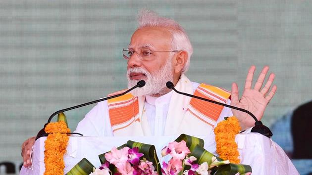 Prime Minister Narendra Modi at the inauguration and foundation stone laying ceremony of the various development projects, in Kanyakumari on Friday.(ANI)