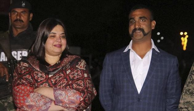 Indian Air Force (IAF) pilot Wing Commander Abhinandan Varthaman as he is released by Pakistan authorities at Wagah border on the Pakistani side, Friday, March 1, 2019.(PTI fphoto)
