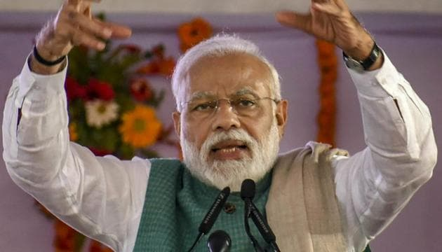 Announcing the launch of a joint venture between India and Russia for the manufacture of AK 203 Kalsahnikov assault rifles in Amethi's Ordnance factory, Prime Minister Narendra Modi said the AK-203 would be the best publicity for Amethi.(PTI photo)