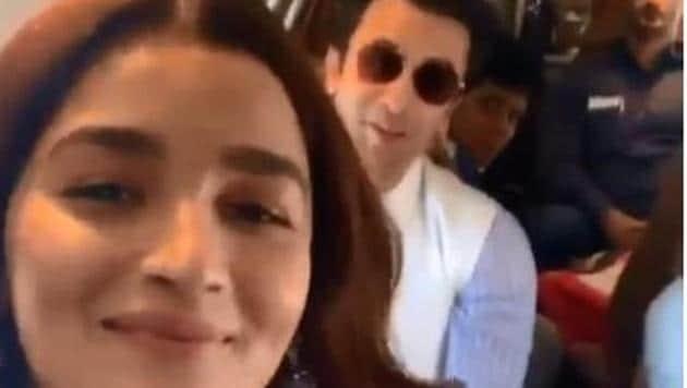 Alia Bhatt and Ranbir Kapoor on their way to Prayagraj.