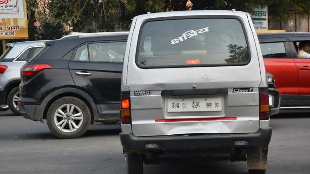 Vehicle sporting different caste labels.(HT Photo)