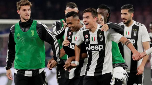 Juventus' Paulo Dybala and team mates celebrate at the end of the match(REUTERS)