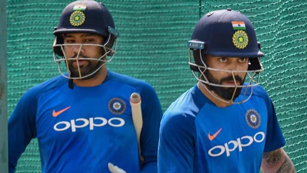 Virat Kohli and Rohit Sharma during a practice session ahead of the 2nd ODI match against Australia.(PTI)