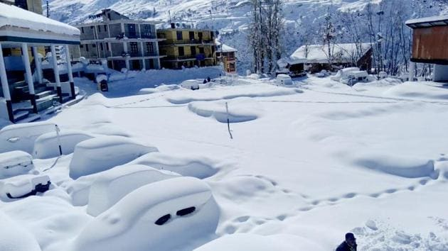 A view of Keylong in Lahaul-Spiti district after heavy snowfall in the region on Friday, Feb 8, 2019.(ANI)