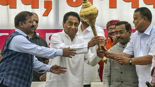 Madhya Pradesh chief minister Kamal Nath on Wednesday announced he will implement the provision of 10% reservation for the economically weaker section among the general category.(PTI)
