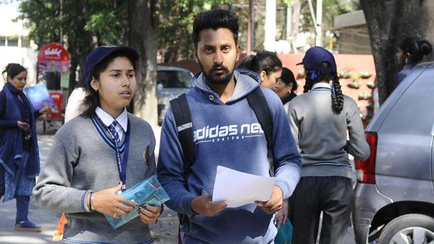 Maxim Merry School Kharar Students coming out after exam at Gain Jyoti School, Phase 2 in Mohali on Tuesday March 5, 2019(Anil Dayal/ HT)