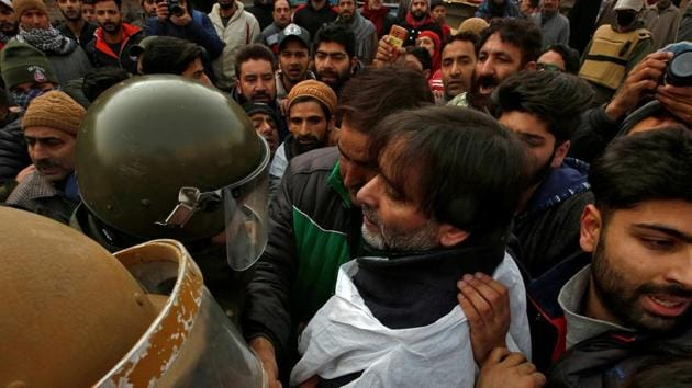 Yasin Malik, chairman of the Jammu and Kashmir Liberation Front (JKLF), was booked under the stringent Public Safety Act (PSA) and shifted to a jail in Jammu, prompting a separatist call for a general strike in the Valley on Friday.(REUTERS FILE PHOTO)