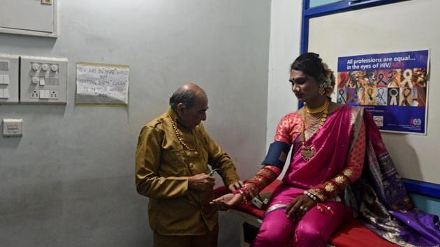 A patient gets tested at India's first holistic LGBTQ clinic and community-based HIV clinic at Humsafar Trust, Santacruz, Mumbai, on Thursday, March 7, 2019.(Satyabrata Tripathy/HT Photo)