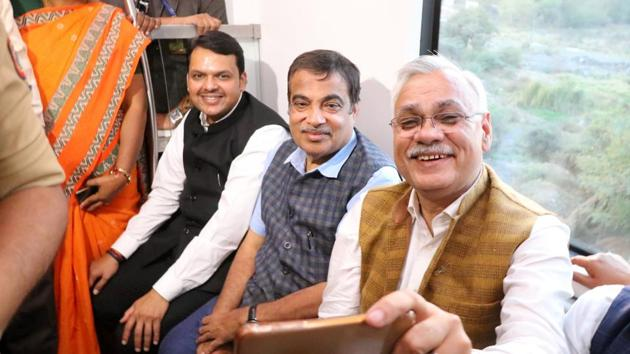 Nagpur, India - 7 March 2019:Maharashtra Chief Minister Devendra Fadnavis and Union Minister Nitin Gadkari and officials taking a ride in Nagpur Metro during Prime Minister Narendra Modi flagged off through video link to commercial run of Nagpur Metro Rail from Khapri metro station to Sitabuldi metro station in Nagpur, India, on Thursday, March 7, 2019. (Photo by Sunny Shende/ HT)(HT)