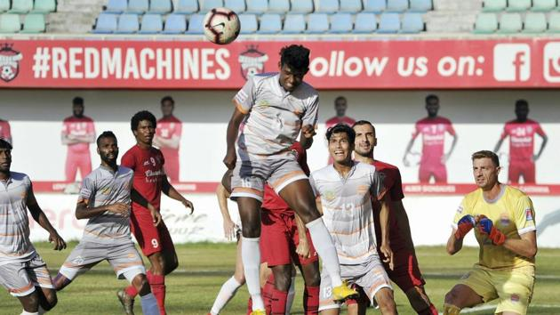 Churchill Brothers FC Goa and Chennai City FC players in action.(PTI)