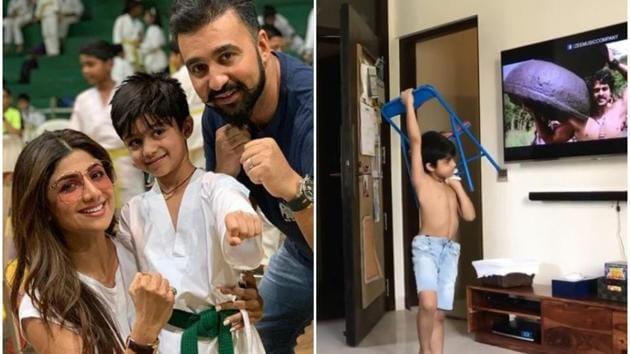Shilpa Shetty's husband Raj Kundra shared a new video of son Viaan copying Prabhas in Baahubali.(Instagram)