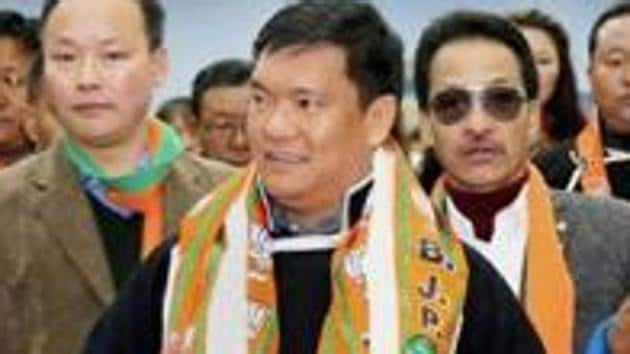 Pema Khandu took oath as chief minister of a Congress government in July 2016 after the Supreme Court intervened and forced his predecessor to quit.(PTI File Photo)