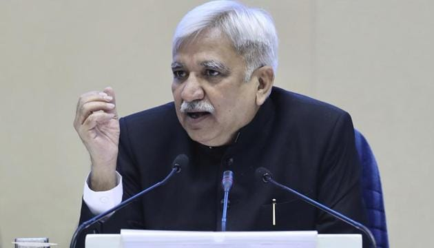 India's Chief Election Commissioner Sunil Arora speaks during a press conference in New Delhi, India, Sunday, March 10, 2019. India's Election Commission has announced that the upcoming national election will be held in seven phases in April and May as Prime Minister Narendra Modi's Hindu nationalist party seeks a second term. (AP Photo/ Manish Swarup)(AP)