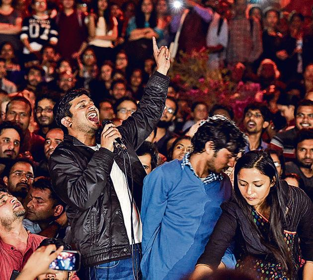 """According to police, Kanhaiya Kumar, Umar Khalid, Anirban Bhattacharya and seven others had allegedly raised """"anti-India"""" slogans during the February 9 event.(HT File Photo)"""