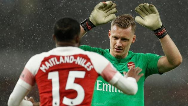 Arsenal's Bernd Leno and Ainsley Maitland-Niles during the match.(Action Images via Reuters)