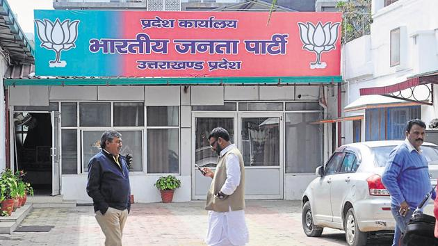 The Bharatiya Janata Party will chalk out programmes for the Lok Sabha elections in a meeting at its headquarters in Dehradun on Tuesday, March 12, 2019.(HT Photo)