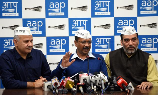 """A day after Congress ruled out any alliance with Aam Aadmi Party (AAP), Chief Minister Arvind Kejriwal on Tuesday said that it will win all seven seats in the ensuing Lok Sabha elections. Kejriwal told media, """". As per our internal survey, all seven AAP contestants are winning, without Congress. We don't have any indication or message from Congress regarding the alliance."""" (Sonu Mehta / HT Photo)"""