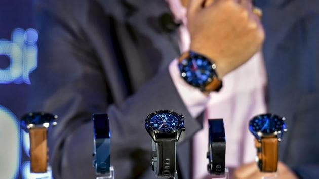 Chinese smartphone manufacturer Huawei's newly-launched Watch GT, Huawei Band 3 Pro and Huawei Band 3e on display, in New Delhi. It will be available in India from March 19. (PTI)