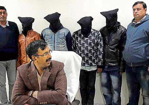 On December 27, STF Haryana arrested four members of a Mewati gang allegedly involved in theft of ATMs in seven states.(HT Photo)