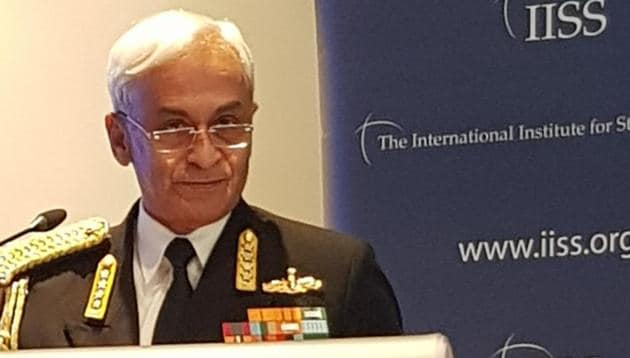 Indian navy chief Admiral Subil Lanba at the International Institute for Strategic Studies in London.(HT PHOTO)