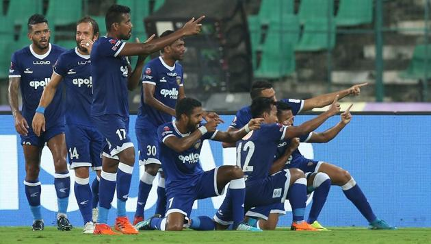 Jeje Lalpekhlua of Chennaiyin FC celebrates the goal.(ISL / SPORTZPICS)