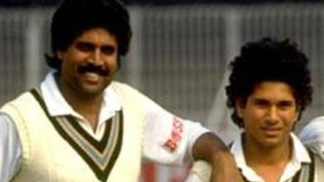 Kapil Dev and Sachin Tendulkar during their playing days.(Getty Images)
