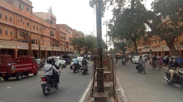 Roads in Jaipur's Kishanpole market lack marking for non-motorised vehicles.