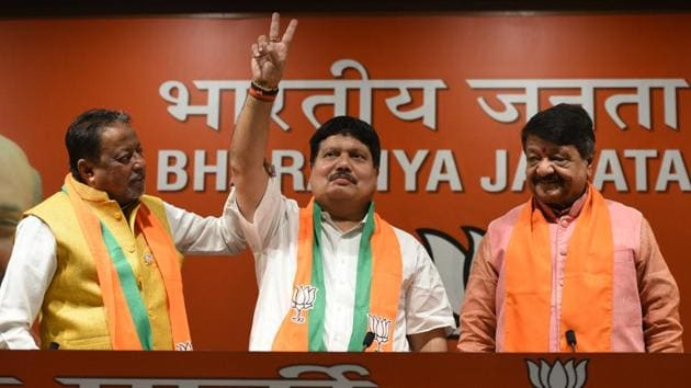 """On Thursday, TMC leader and four-time legislator from West Bengal Arjun Singh joined the Bharatiya Janata Party (BJP) party. """"Earlier the TMC used to stand for Maa, Mati, Manush, now it is only money, money and money,"""" Singh said attacking West Bengal Chief Minister Mamata Banerjee. (Sonu Mehta / HT Photo)"""