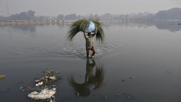 """In an affidavit filed before the court, the state of Haryana said that the national capital is """"discharging substantial quantity of water to the downstream of Wazirabad causing huge loss of precious water"""".(Biplov Bhuyan/HT File Photo)"""