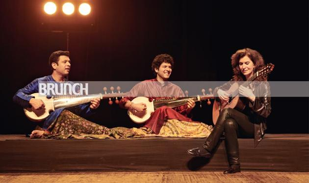 When Grammy-winning classical guitarist Sharon Isbin works with sarod player duo Amaan and Ayaan Ali Bangash, East and West no longer seem like opposites; Make-up and hair: Rashmi Shastri; Location: Royal Opera House, Mumbai(Prabhat Shetty)