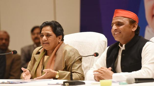 Bahujan Samaj Party chief Mayawati and Samajwadi Party president Akhilesh Yadav during a joint press conference, in Lucknow. The SP announced its first candidate for Lok Sabha elections outside Uttar Pradesh as part of its alliance with the BSP on one of the three seats that have come to its quota in Madhya Pradesh. The SP will contest three of the 29 Lok Sabha seats in Madhya Pradesh (Subhankar Chakraborty / HT File)