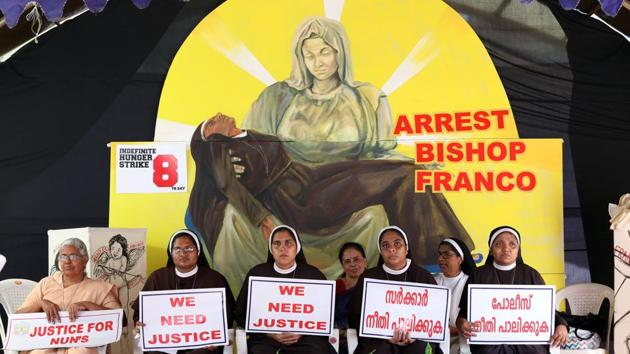 Sister Lucy Kalapura (not pictured), who supported the protest for the arrest of Jalandhar bishop Franco Mullakkal on sexual assault allegations, has been asked to leave the vocation immediately by the Franciscan Clarist Congregation (FCC) or be defrocked. The nun however has challenged the congregation to expel her, saying most of the charges raised against her were baseless. (Vivek Nair / HT File)