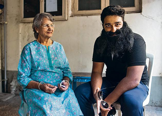 Samuel Raphael with his grandmother Sunanda Karnad in Mumbai. Raphael had hit the headlines when he said he wanted to sue his mother for giving birth to him.(Aalok Soni / HT Photo)