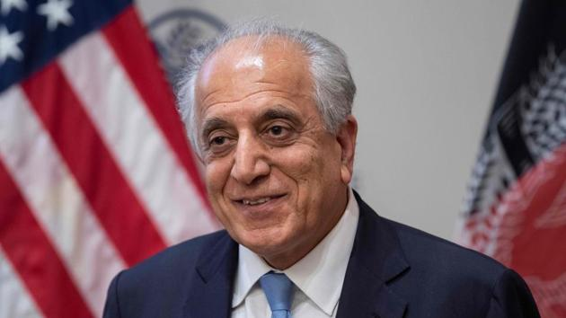"""US Special Envoy Zalmay Khalilzad at a discussion on """"The Prospects for Peace in Afghanistan"""" at the United States Institute of Peace (USIP) in Washington, DC, on February 8, 2019 .(AFP)"""