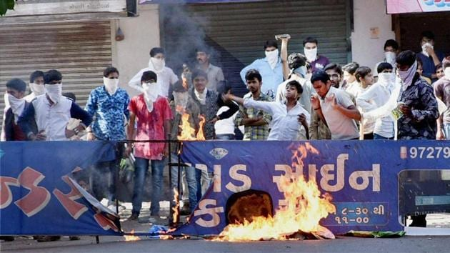 Members of the Patidar community protest for leader Hardik Patel's release from jail in Surat in April 2016.(PTI File Photo)