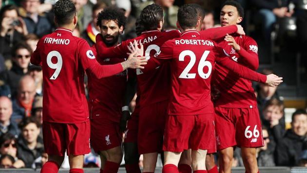 Liverpool's Sadio Mane celebrates a goal with his teammates.(Reuters)