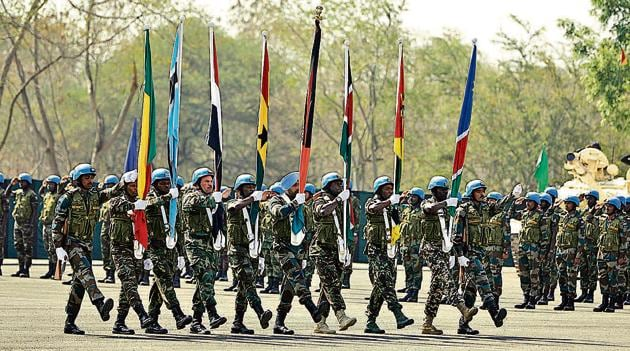 Opening ceremony of the inaugural Africa-India Field Training Exercise 2019, Afindex-19, on Monday, at the Aundh Military Station. Contingents from 17 African nations along with a contingent of the Maratha Light Infantry have come together for this exercise.(Rahul Raut/HT PHOTO)