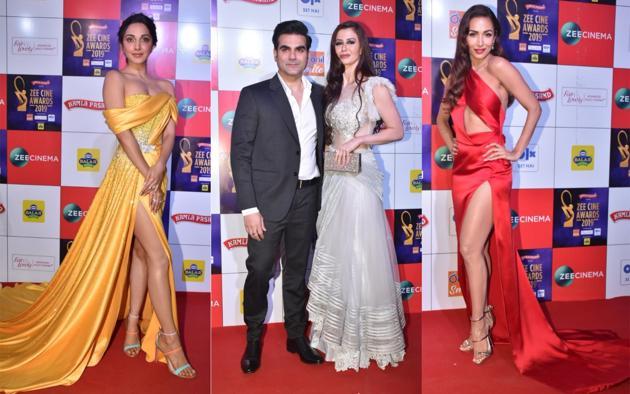 Kiara Advani, Arbaaz Khan with girlfriend Giorgia Andriani and Malaika Arora at the Zee Cine Awards in Mumbai on Tuesday.(Varinder Chawla)