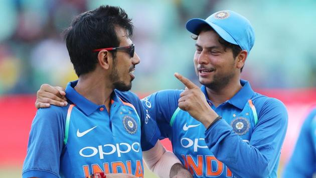 Yuzvendra Chahal of India and Kuldeep Yadav of India during the 1st One Day International match between South Africa and India held at Kingsmead Cricket Ground in Durban on the 1st feb 2018.(BCCI photo)