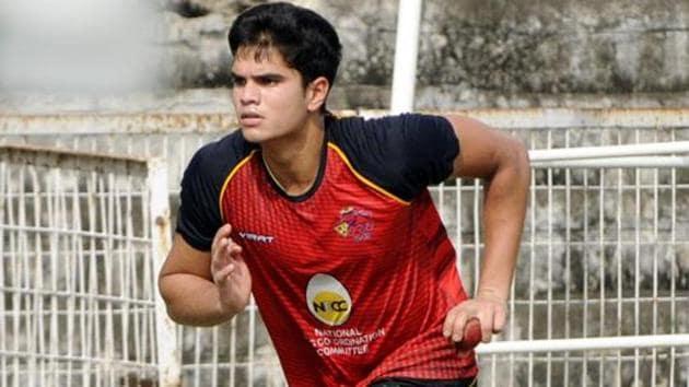 Arjun Tendulkar, son of Sachin Tendulkar, during the net practice.(HT Photo)