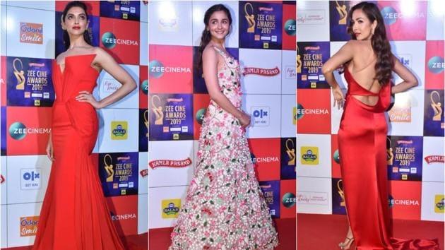 ZCA 2019: Deepika Padukone, Malaika Arora stun in similar red gowns, Alia chooses summery florals.(Varinder Chawla)