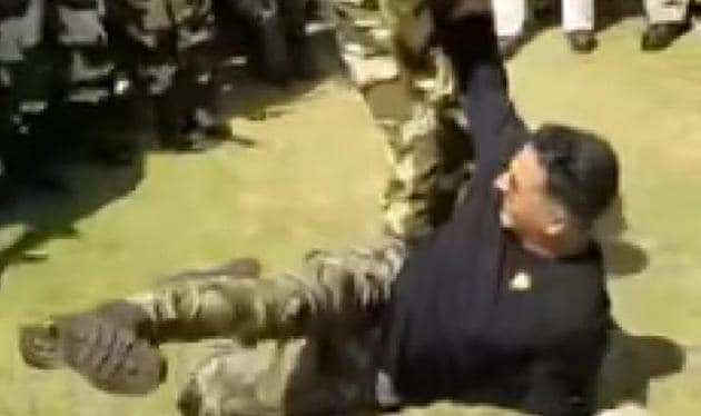 Akshay Kumar on the ground during his fight with a BSF officer.