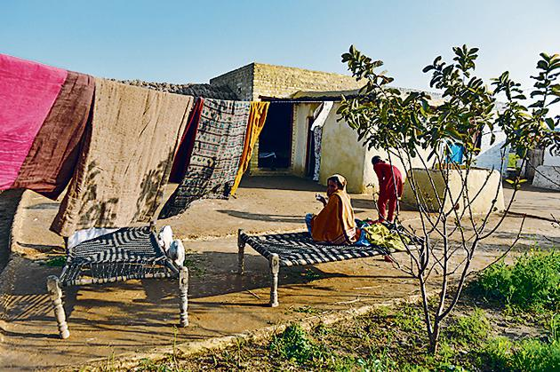 In the courtyard: A home near the India-Pakistan border.(AFP)