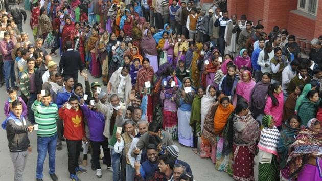 Voters stand in queue during an election in Chandigarh.(Karun Sharma/ HT Photo)